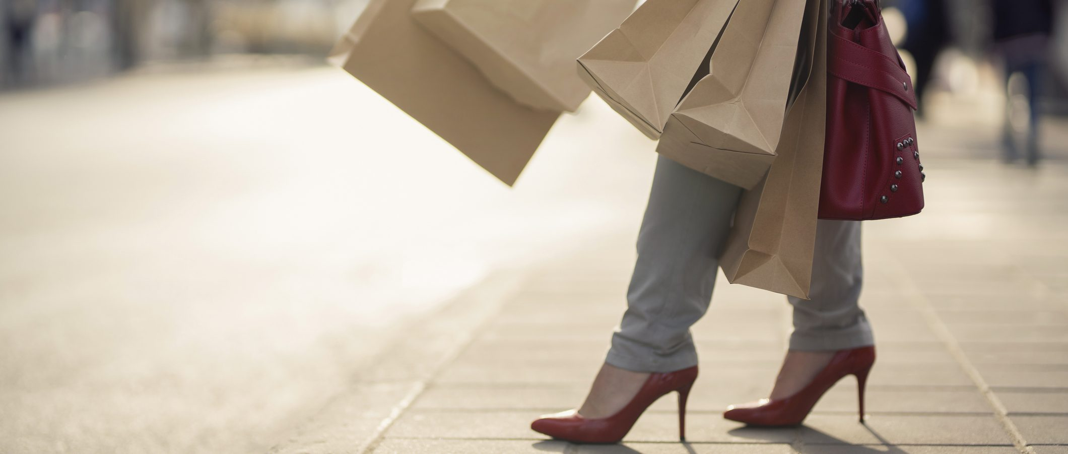 Woman carrying shopping bags